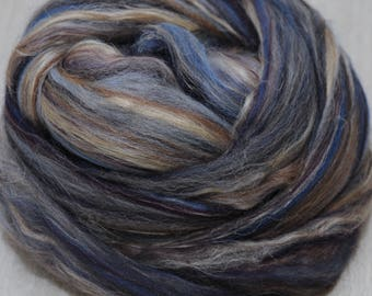 The Oncoming Storm Shetland Manx Loaghton Tussah Flax Custom Blended Top - 4 oz