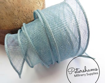 Hand Rolled Sinamay Ribbon Trim for Millinery, Hat Making & Fascinators - Light Blue