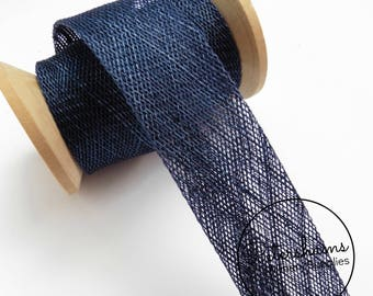 3cm Sinamay Bias Binding Tape Strip (1.6m/1.7yards) for Millinery & Hat Making - Navy Blue
