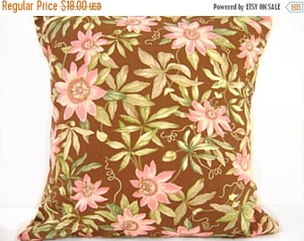 Christmas in July Sale Sale 18.00 Brown Floral Pillow Covers Cushions Pink Green Decorative Pair 18x18