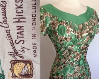 Vintage 50s Stan Hicks Hawaiian Wiggle Dress 34 bust Polished Cotton Gathered Bust