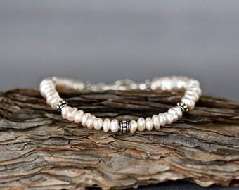 Pink Pearl Bracelet - Pearl and Silver Bracelet - Bali Silver Bracelet - Pearl Wedding Bracelet - Bridal Jewelry - Freshwater Pearl Bracelet
