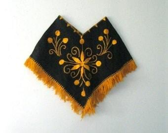 Spring SALE Vintage Children's embroidered poncho / childs Hippie Boho fringe poncho