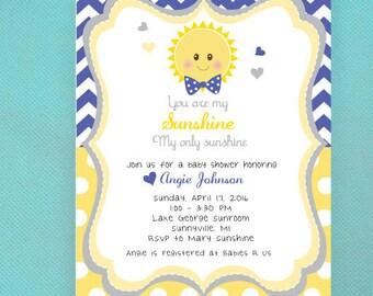 You Are My Sunshine Baby Shower Invitations, Navy, Gray, Yellow, PRINTED Invitations