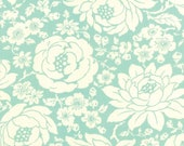 Fabric by Moda: Hello Darling by Bonnie and Camille Aqua with cream flowers