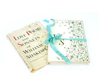 The LOVE Poems and Sonnets of Willaim Shakespeare, Old Shakespeare Sonnets , Old Shakespeare Book, Shakespeare Wedding, Art by Vera Bock