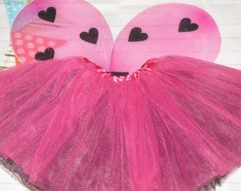 New Lady bug fairy hearts Inspired girl Halloween Costume tutu with wings size  4-8 years child hot pink black