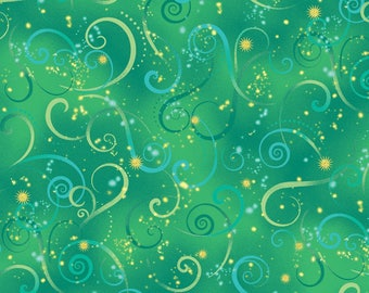 Kanvas By Benartex - Dance of the Dragonfly - Swirling Sky w/ Metallic Gold - Emerald - Fabric by the Yard 8500MB-40