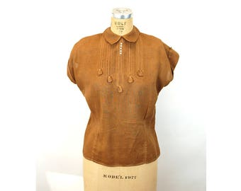 1950s blouse linen brown cafe au lait cocoa tatting back button fitted  Size L