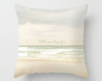 Let The Sea Set You Free, Throw Pillow, Square Pillow, Beach Pillow, Bed Decor, Cottage Home, Beige Pillow, Living Room Decor, Ocean Decor