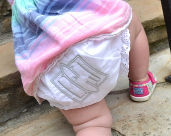Romanesque Monogrammed Diaper Cover / Romanesque Personalized Bloomers for Girls
