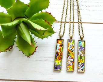 70's Floral Mix Tea Tin Necklace - Long Necklace - Bar Necklace - Upcycled Jewelry, Repurposed Jewelry, Tea Lover Gift