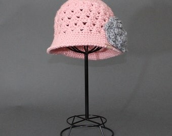 Crochet PATTERN Chloe Cloche with Rose Girls Crochet Hat Pattern Includes 5 Sizes for Baby, Toddler, Child, Girls and Ladies