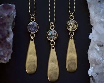 Gold Teardrop Crushed Gemstone Resin Necklace