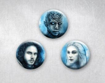 Game of Thrones Portraits Daenerys, Jon Snow, WhiteWalker Night King, Pinback Buttons, Original Art Design, 1.25 inch, Set of 3