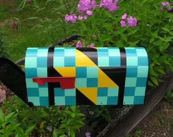 Hand Painted Quilt Pattern Mailbox - Pattern: JACOB'S LADDER -F