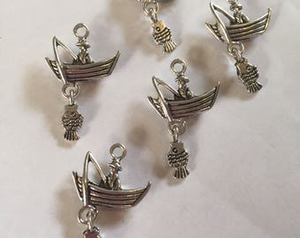 Set of 5 Tibetan silver man in fishing boat charms