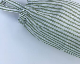 Plastic Grocery Bag Holder, Green and White Stripe Ticking Fabric