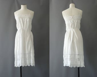 English underdress | White cotton lace dress | 1920's by cubevintage | small