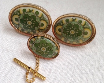 Marco Polo Cufflink Set Green Delft Porcelain