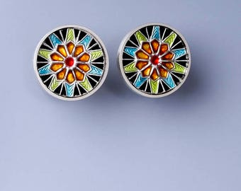 Ivy Woodrose sterling silver, PMC, and resin enamel post earrings