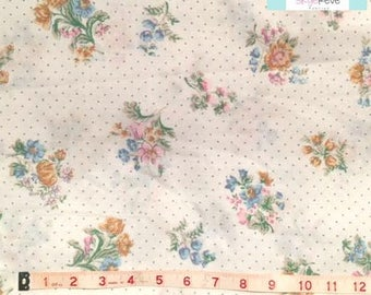 Full Vintage Fitted Sheet with Florals and Polka Dots