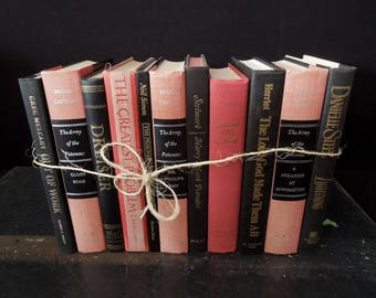 Books by the Foot Black & Coral - Bookshelf Decor - Den Office Elegant Library - Books by Color