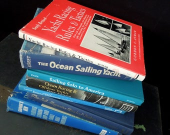 Nautical Yachting Sailing Ocean Lake Boating Book Set - Lake Beach Home Staging Library - Vintage Books for Decor