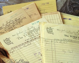 Hotel Receipts from The Yorktowne Hotel, York, PA 1940s Lot of 5