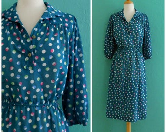 70's blue polka dot day dress ~ small medium