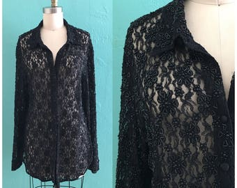80's lace beaded blouse // lace beaded top