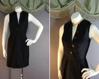 60s dress 1960s vintage BLACK COTTON PIQUE hourglass classic fitted mini dress