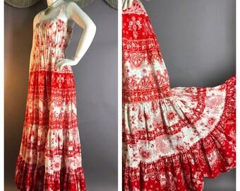 1970s vintage dress 70s RED PRINT COTTON amazing massive sweep hippie hippy boho festival maxi sun dress