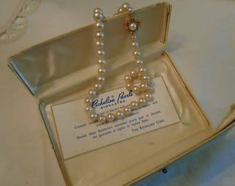Richelieu Pearls  Simulated  Metal Gold Tone Clasp Rhinestones Large Center Pearl