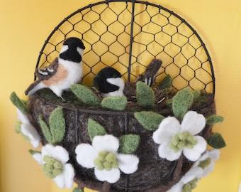 Chickadee nest basket wall hanging sculpture, needle felted bird sculpture