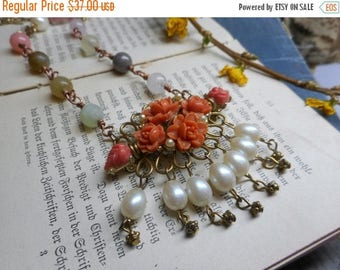 The Flowers in the Attic Boho Necklace. Upcycled faux pearls vintage floral brooch, gemstones & baubles statement necklace