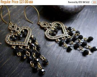 SALE Dark Heart earrings. Handmade Gothic Black Glass Rustic Heart Earrings. Bad Love broken heart anti-valentines day. dark love heart brok