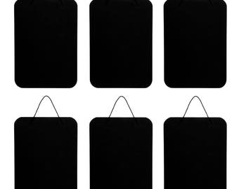 Lot of 6 Darice PS511D Hanging Black Chalkboard Signs 7 x 10 for Kids DIY designs, Weddings, Home Decor