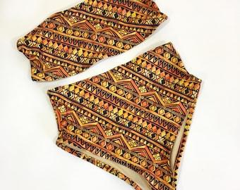Copper print Bandeau high waist swimsuit