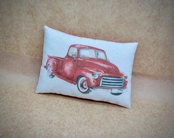Vintage Red vehicle pillow | Christmas decor | Pickup truck | Antique truck decor | Gift for him | Stocking stuffer | Christmas decoration