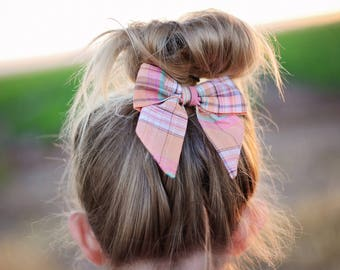Petite Peanut Bitty Bow Headband - Sorbet Plaid- Coral Orange Pink - Baby Girl Toddler - (Made to Order)