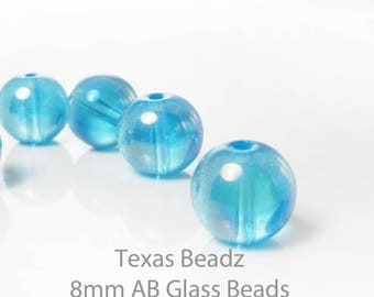 8mm AB Aqua Blue Beads Iridescent 25pcs Glass Beads Round Smooth Loose Beads Aurora Borealis