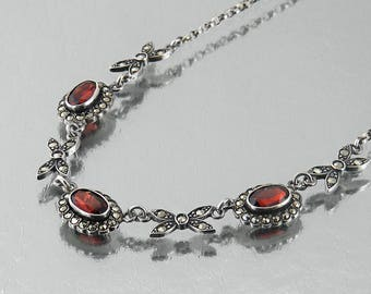 Vintage Garnet, Sterling Silver, Marcasite Necklace | Belle Époque Style Jewelry | Sterling Silver, English Hallmarked 1977 - 18 Inch Chain