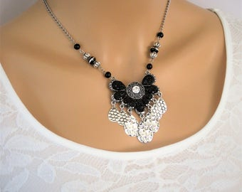 Black and Silver Necklace, Beaded Necklace, Bohemian Necklace, Black Necklace, Statement Necklace, Black Beaded Necklace, N872