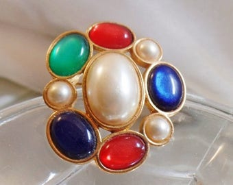 SALE Vintage Colorful Cabochon Brooch.  Red, Blue, Green, Pearl Pin.  Avon.