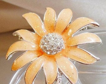 SALE Vintage Peach Rhinestone Flower Brooch.  Danecraft.  Silver Plated Peach Enamel Rhinestone Flower Pin.