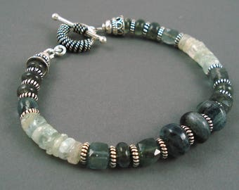 Gemstone Bracelet, Moss aquamarine with Oxidized Sterling Silver Bracelet