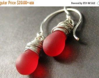 BACK to SCHOOL SALE Red Satin Teardrop Earrings Wire Wrapped in Silver - Elixir of Roses. Handmade Earrings.