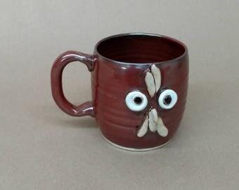 Hand Made Pottery Mug. Cute 16 Ounce Rooster Teacup. Microwave and DIshwasher Safe Stoneware Clay. Hand thrown. Ug Chug Mug. Rustic Red.