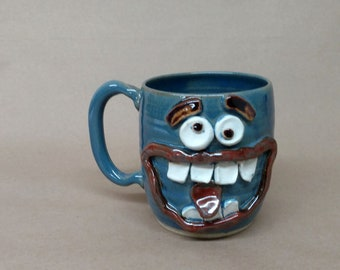 Huge 20 Ounce Beer Stein. Extra Large Pottery Tankard for Him. Fun Unique Coffee Cups. Blue. Mischievous Jokester Face Mug. Big Coffee Mug